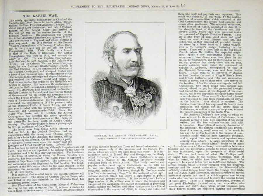 Print Portrait Cunynhame South Africa Kaffir War 1878 73Uaaa1 Old Original
