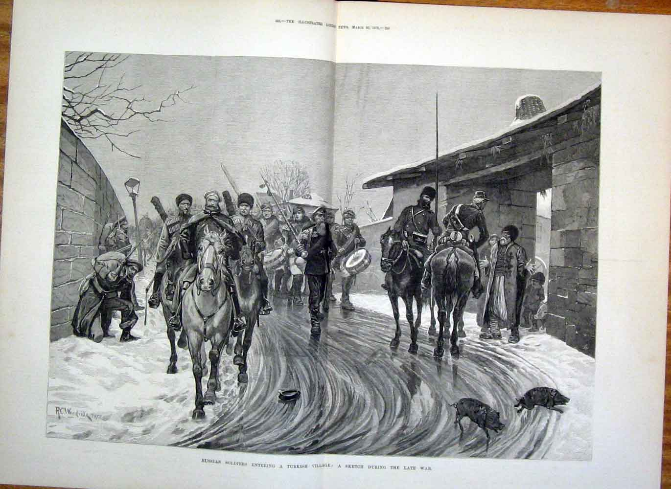 Print Russian Soldiers Turkish Village Turkey War 1878 87Taaa1 Old Original