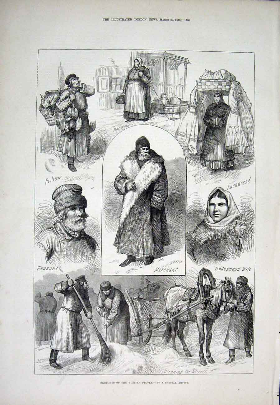 Print Portrait Russia People Merchant Peasant 1878 00Aaa1 Old Original