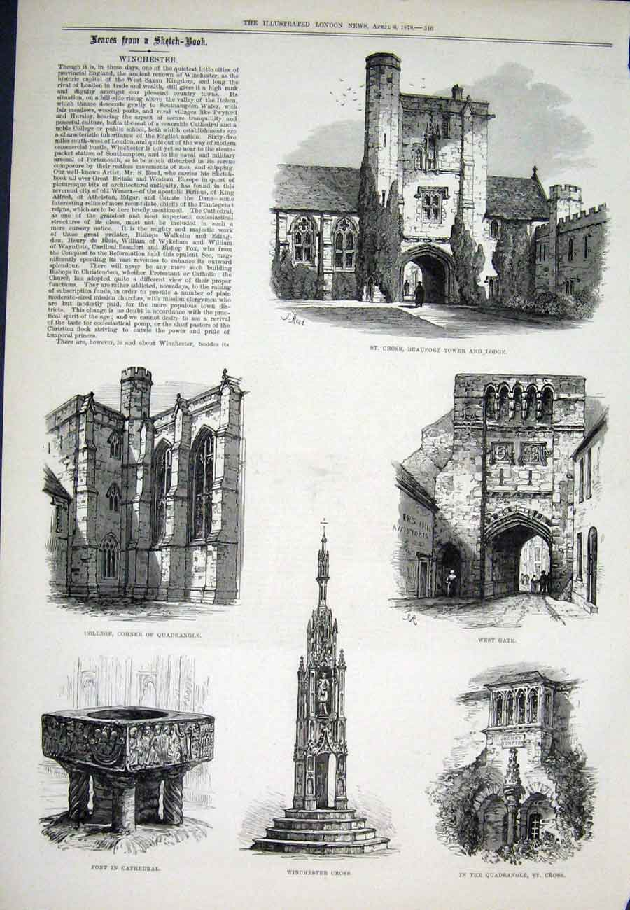 Print Winchester Beaufort Tower Cross Cathedral 1878 16Aaa1 Old Original