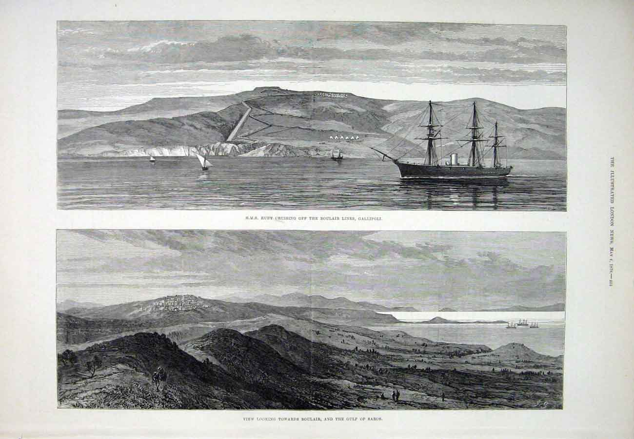 Print Hms Ruby Gallipoli Boulair Saros Ship 1878 04Aaa1 Old Original