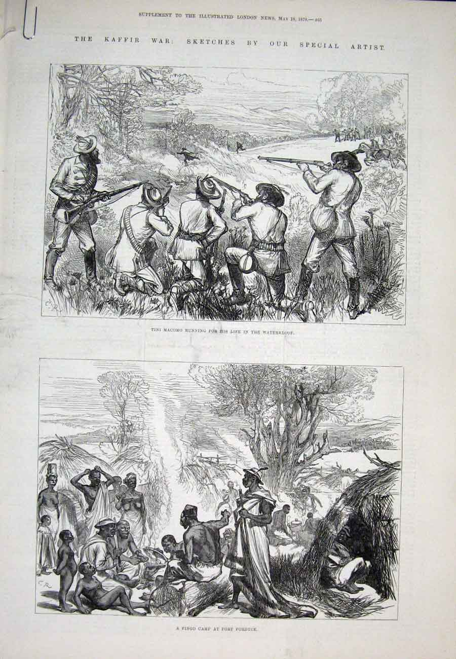 Print Kaffir War South Africa Waterklo1878 65Aaaa1 Old Original