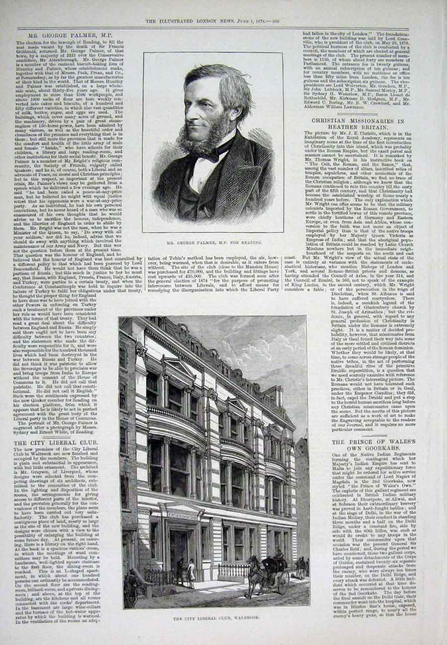 Print Palmer Mp Reading Portrait Walbrook Liberal London 1878 00Aaa1 Old Original