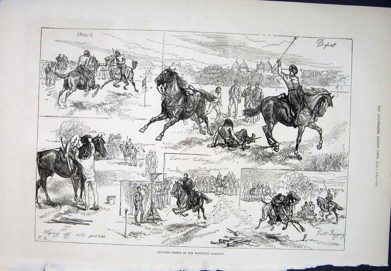 Print Horse Woolwich Garrison Sports 1878 08Aaa1 Old Original