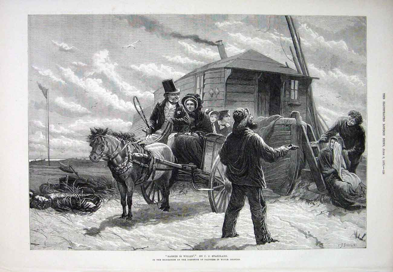 Print Staniland Painting 1878 Marriage Horse People 28Aaa1 Old Original