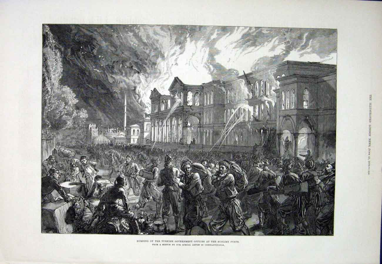 Print Turkey Sublime Porte Fire Government Office 1878 56Aaa1 Old Original