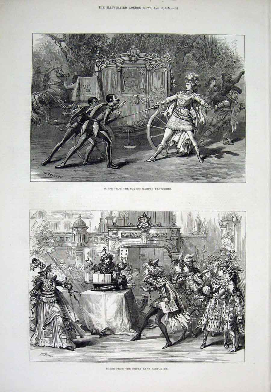 Print Covent Garden Drury Lane Pantomime London 06Aaa1 Old Original