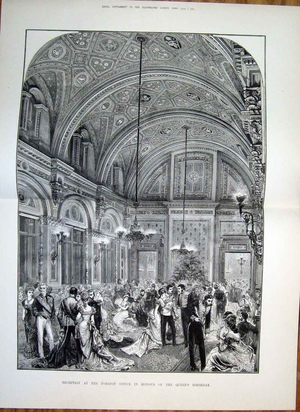 Print Foreign Office London Queen Birthday 1878 22Taaa1 Old Original