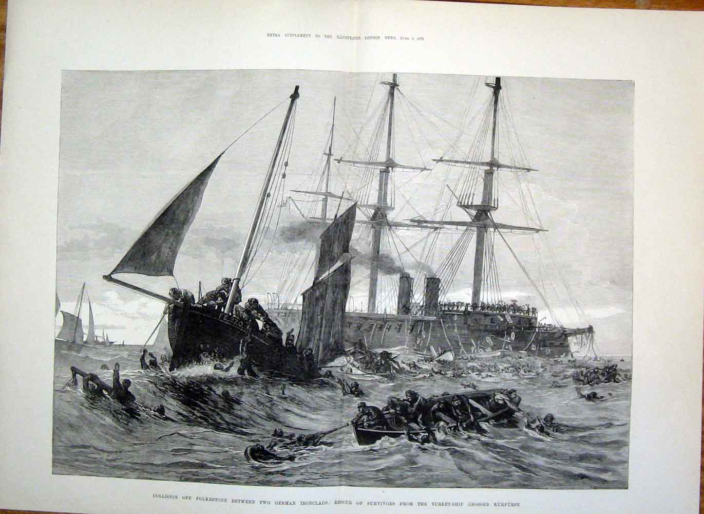 Print Grosser Kurfurst Folkestone German Ironclads Ship 25Taaa1 Old Original