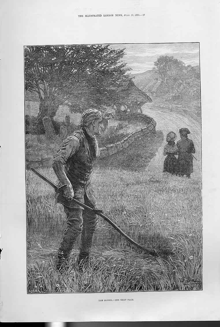 Print The Mower Fine Art 1880 57Aaa1 Old Original