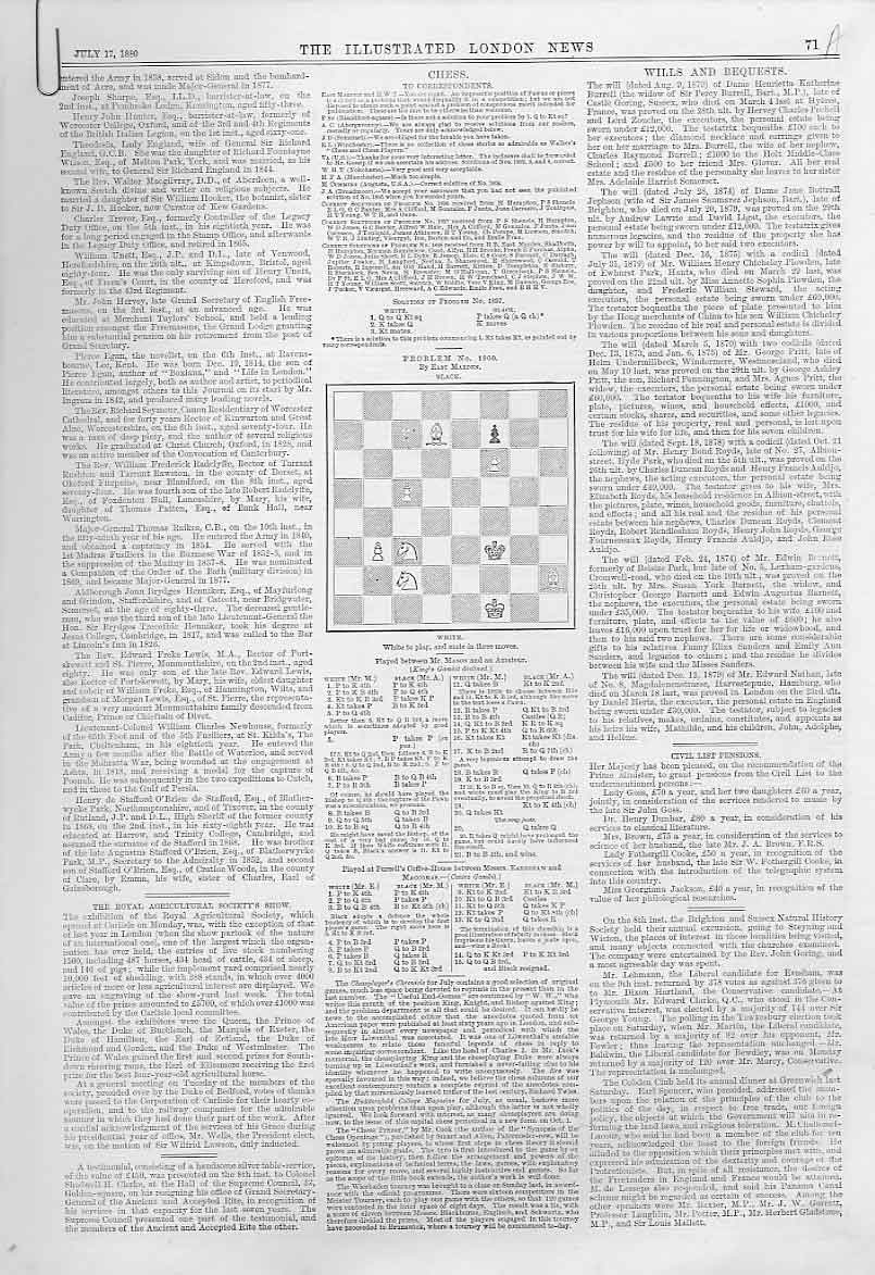 Print 4 Chess Problems & Games 1880 71Aaaa1 Old Original