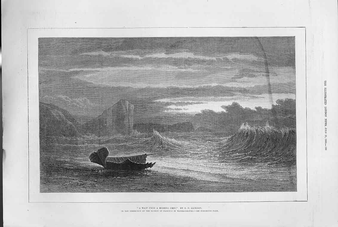 Print Waif From Missing Ship Fine Art By Jackson 1880 08Aaa1 Old Original