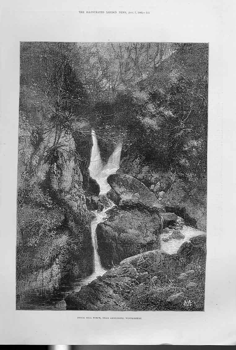 Print Stock Gill Force Nr Ambleside Windermere 25Aaa1 Old Original