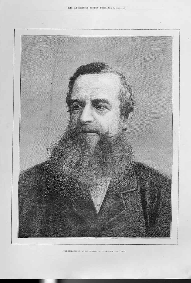 Print Marquis Ripon Viceroy India 1880 Portrait 29Aaa1 Old Original