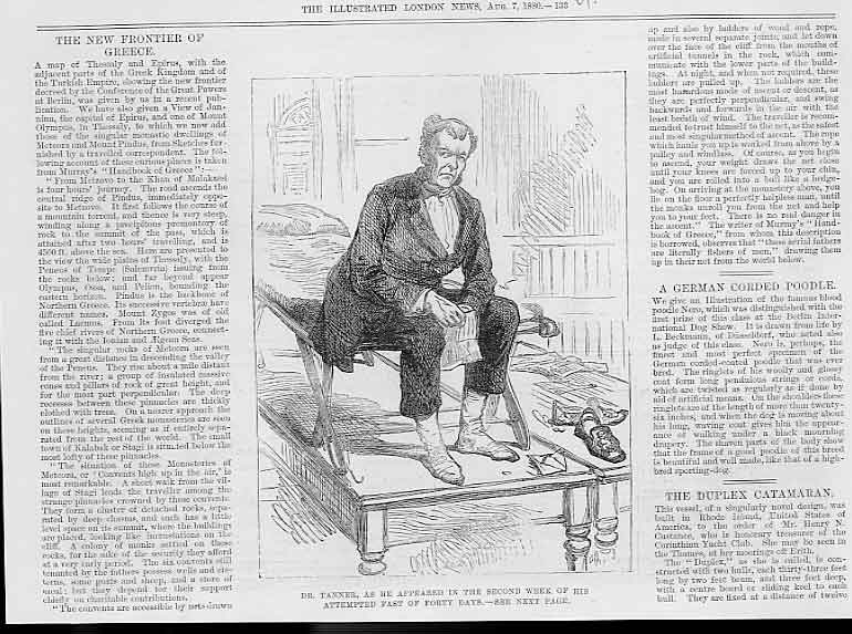 Print Dr Tanner On 40 Day Fast 1880 Portrait 33Uaaa1 Old Original