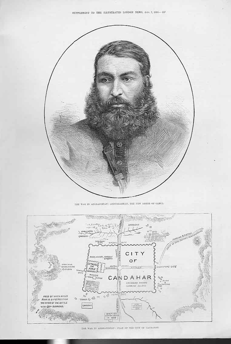 Print Abudurrahman Ameer Cabul & Map City Cabul 1880 37Aaa1 Old Original