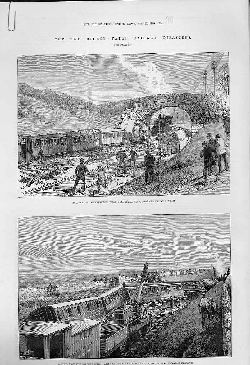 Print Railway Accident Wennington Lancs & Berwick 1880 84Aaaa1 Old Original