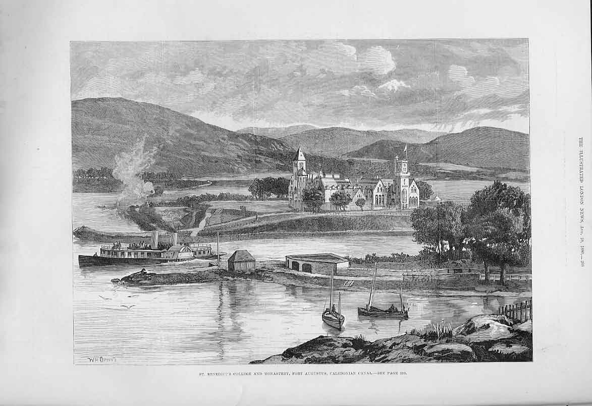 Print St Benedicts College Monastry Fort Agustus Scotland 188 08Aaa1 Old Original