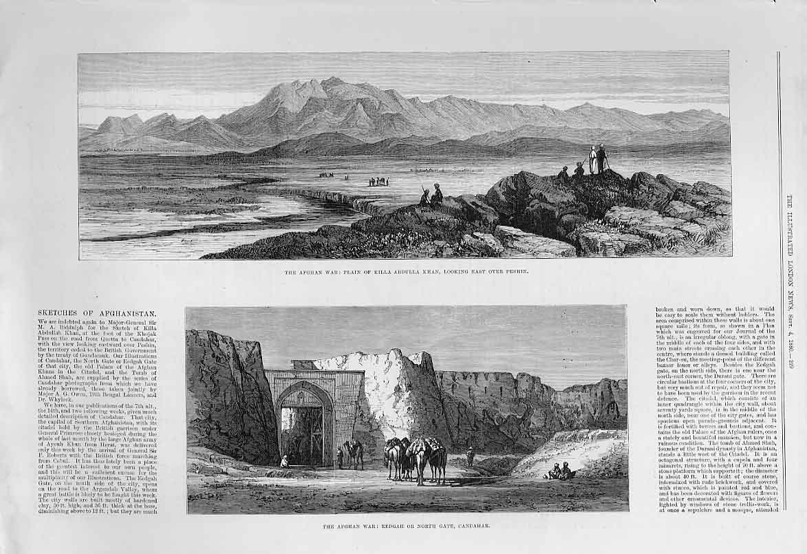 Print Plain Killa Abdulla Khan North Gate Candahar 1880 29Aaa1 Old Original