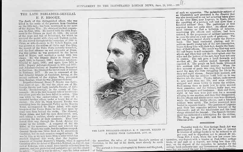 Print Gen H F Brooke Portrait 1880 89Uaaa1 Old Original