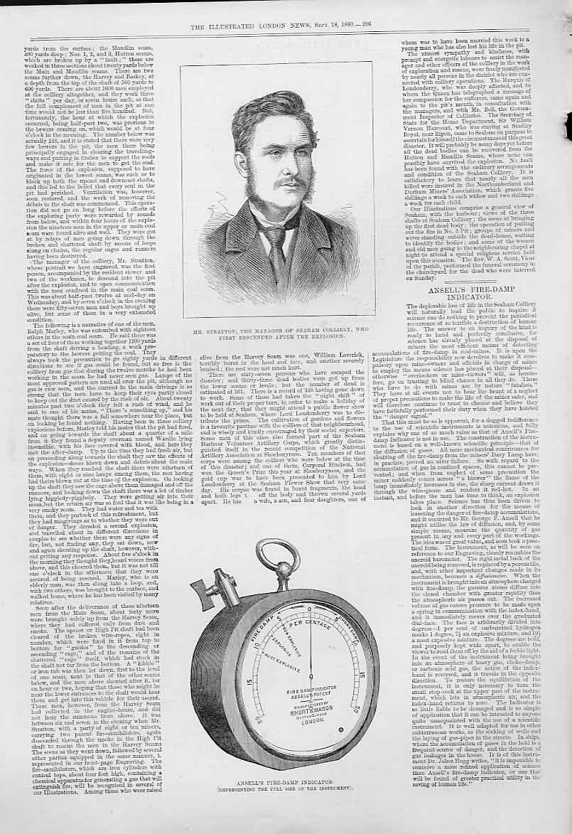 Print Ansell'S Fire Damp Indicator 1880 96Aaa1 Old Original