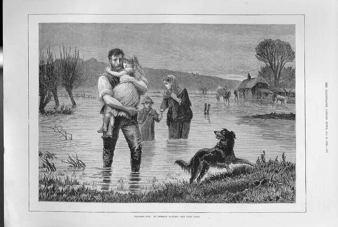 Print Rescued From Flood By N Taylor 1880 73Aaa1 Old Original