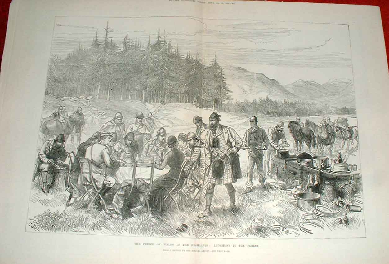 Print Prince Wales Lunch In Highlands Scotland 1880 99Taaa1 Old Original