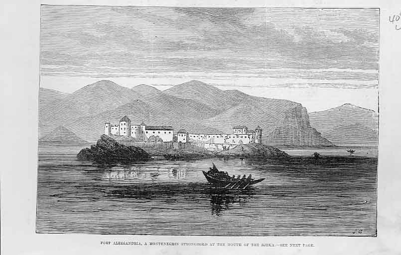 Print Montenegrin Fort Alessandria At Mouth Rjeka 1880 05Laaa1 Old Original