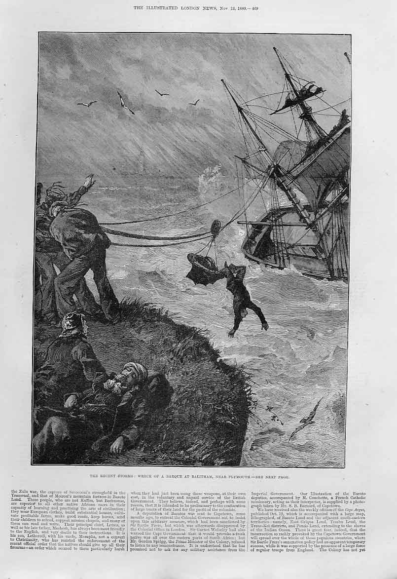 Print Wreck Bark Balitham Nr Plymouth 1880 Ship 69Aaa1 Old Original