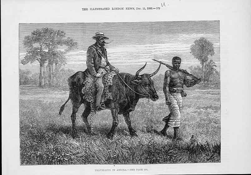 Print Travelling Angola 1880 By Bullock 72Uaaa1 Old Original