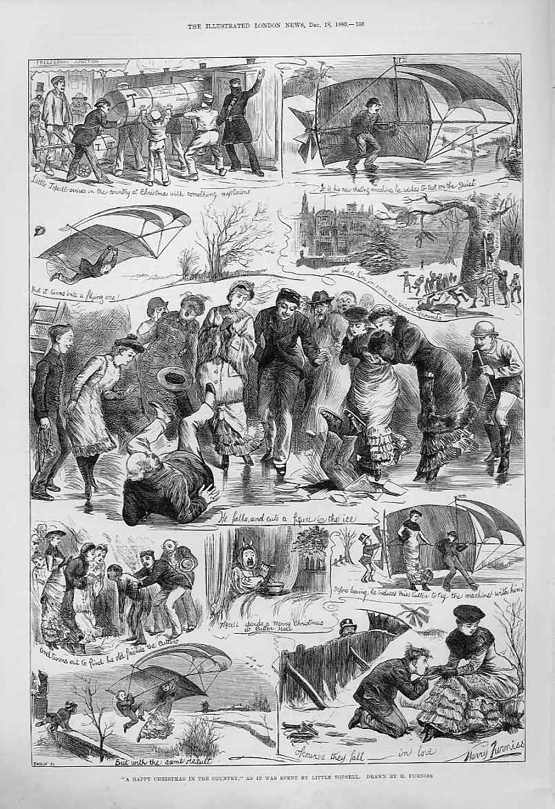 Print Happy Christmas In The Country 1880 96Aaa1 Old Original