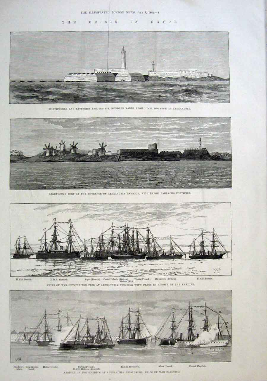 Print Forts & Ships Guarding Alexandria Egypt 1882 04Aaa1 Old Original