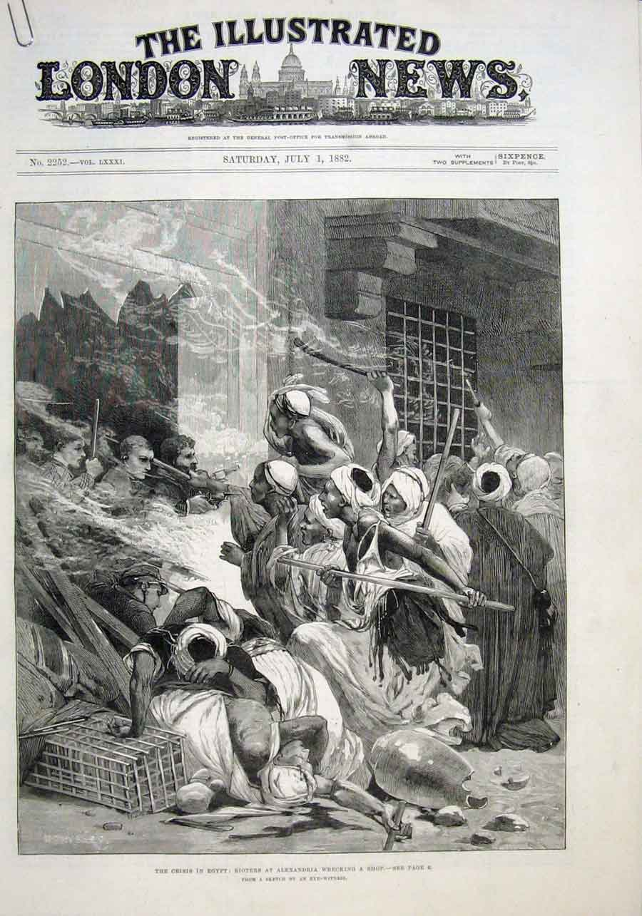 Print Rioters At Alexandria Wreck Shop 1882 Crisis Egypt 08Aaaa1 Old Original