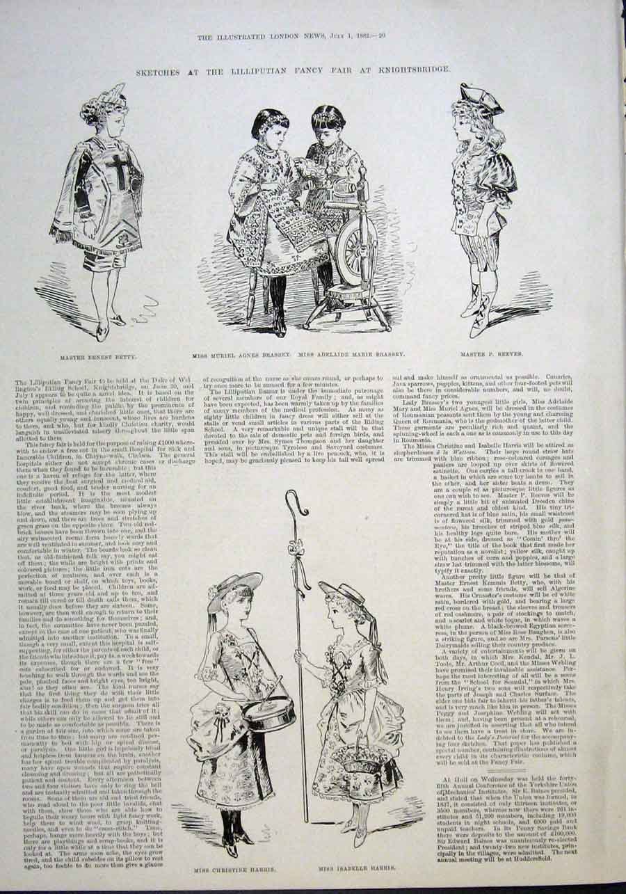 Print Lilliputian Fancy Fair Knightsbridge London 1882 20Aaa1 Old Original