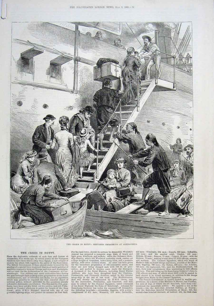 Print Crisis Egypt Refugees Embarking Alexandria 32Aaaa1 Old Original