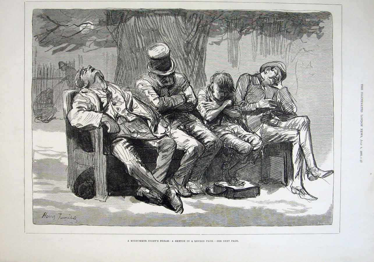 Print Mid Summers Night Dream Sketch London Park 1882 37Aaa1 Old Original