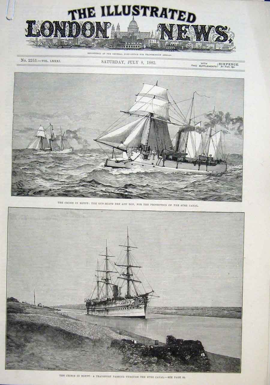 Print Gun Boats Dee & Don For Protection Suez Canal 1882 Ship 40Aaaa1 Old Original