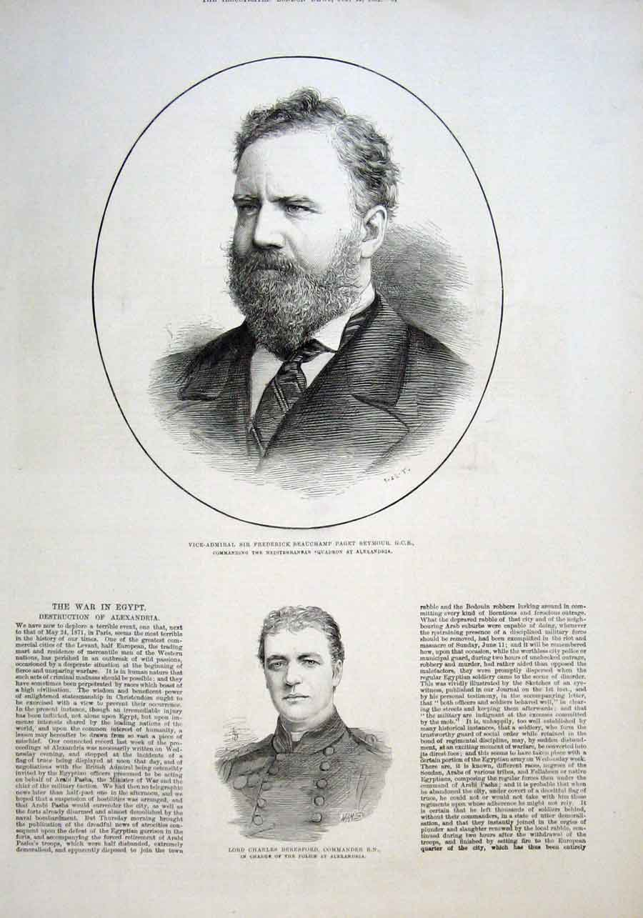 Print Admirla Sir Frederick Beauchamp Paget Seymour 1882 81Aaa1 Old Original