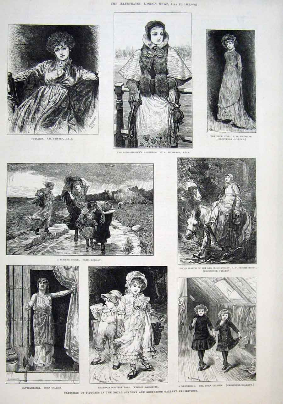 Print Pictures In Royal Academy & Grosvenor Exhibition 1882 85Aaaa1 Old Original