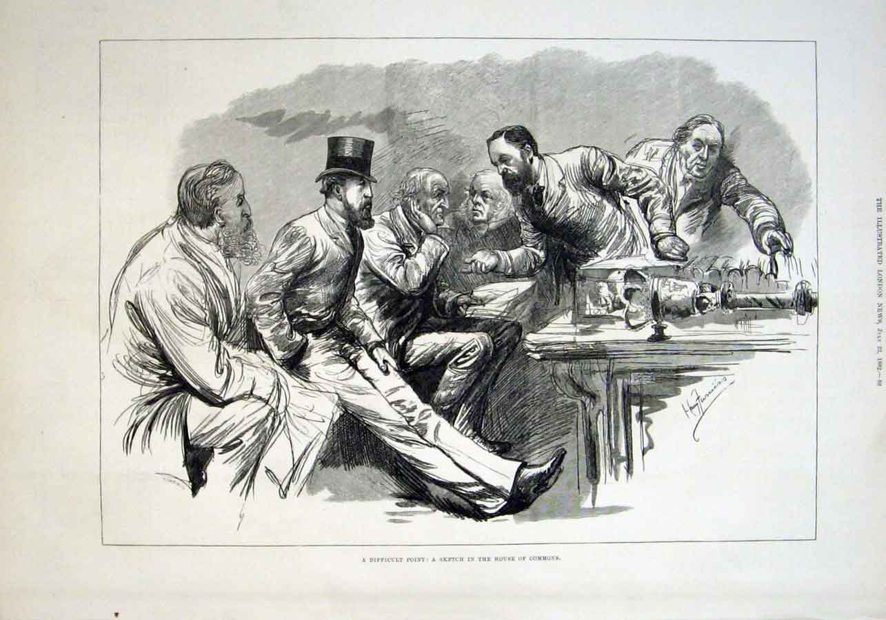 Print A Difficult Point In House Commons 1882 88Aaa1 Old Original