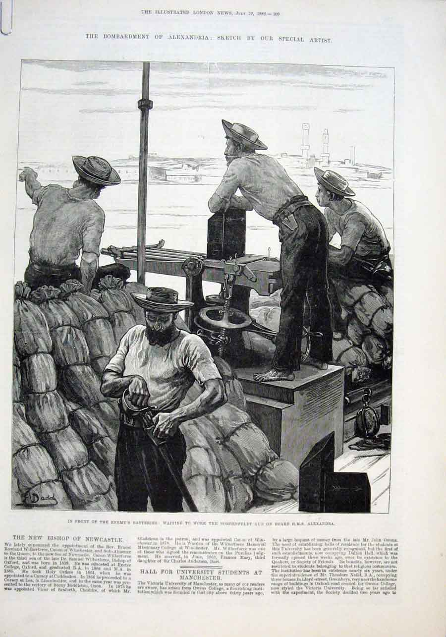 Print Waiting To Work The Nordenfeldt Gun Hms Alexandra Ship 09Aaaa1 Old Original