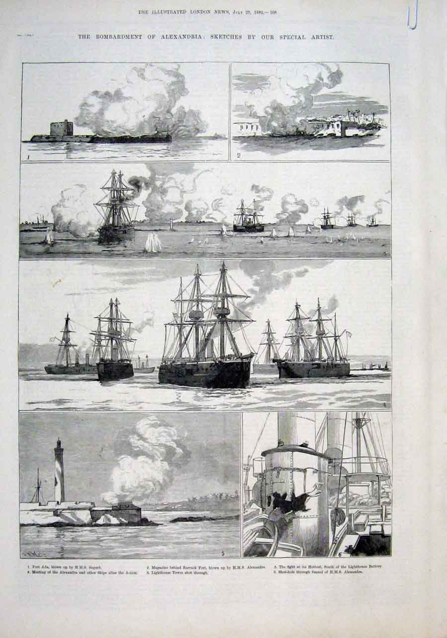 Print Bombardment Alexandria Egypt By British Ships 1882 W 09Baaa1 Old Original