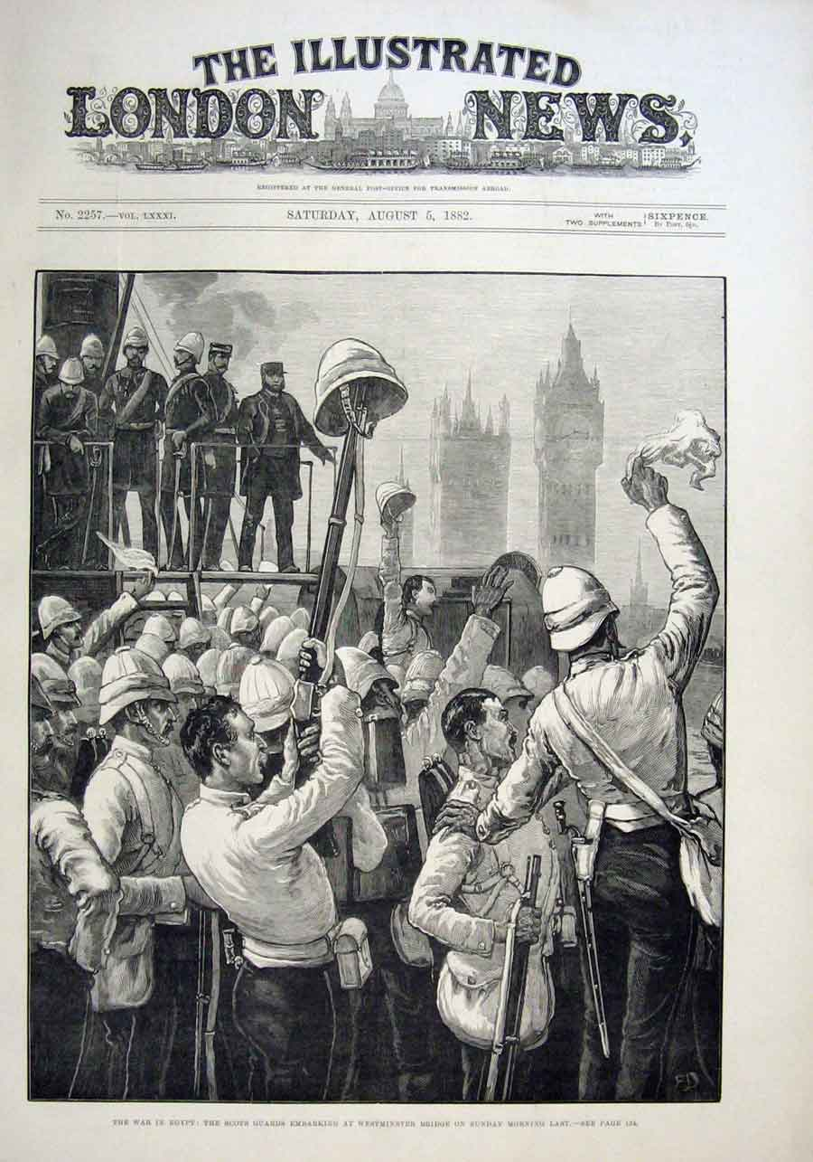 Print Scots Guards Embarking For Egypt 1882 30Aaa1 Old Original