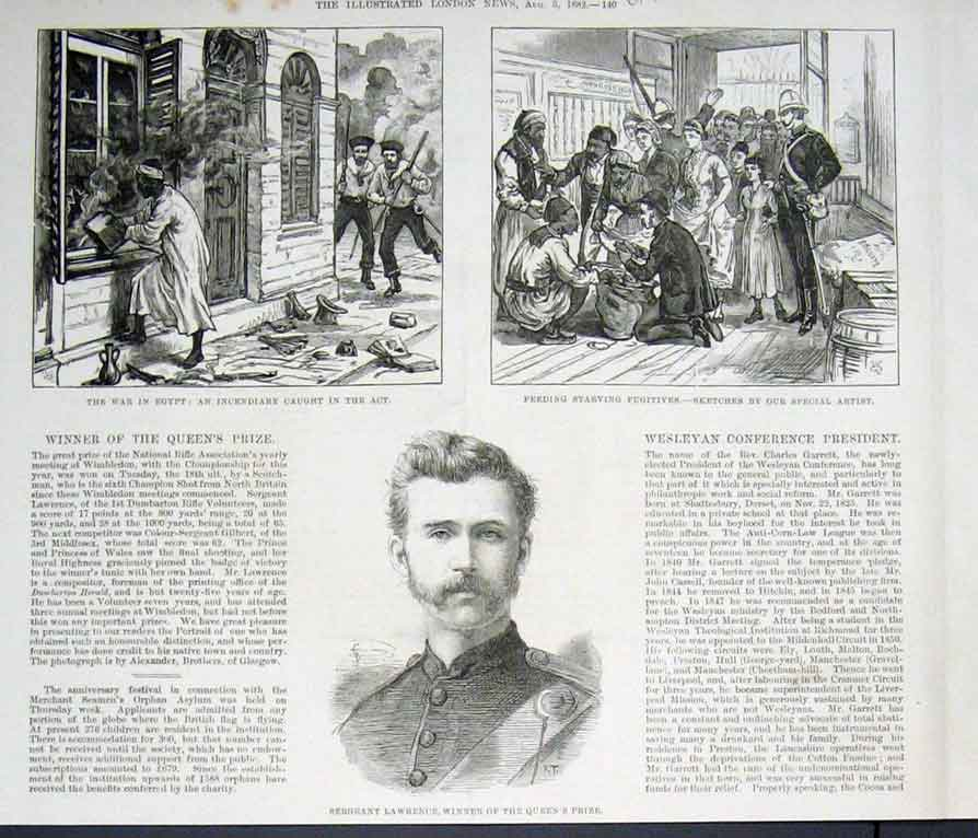 Print An Incendiary Caught Red Handed 1882 Egyp 40Uaaa1 Old Original