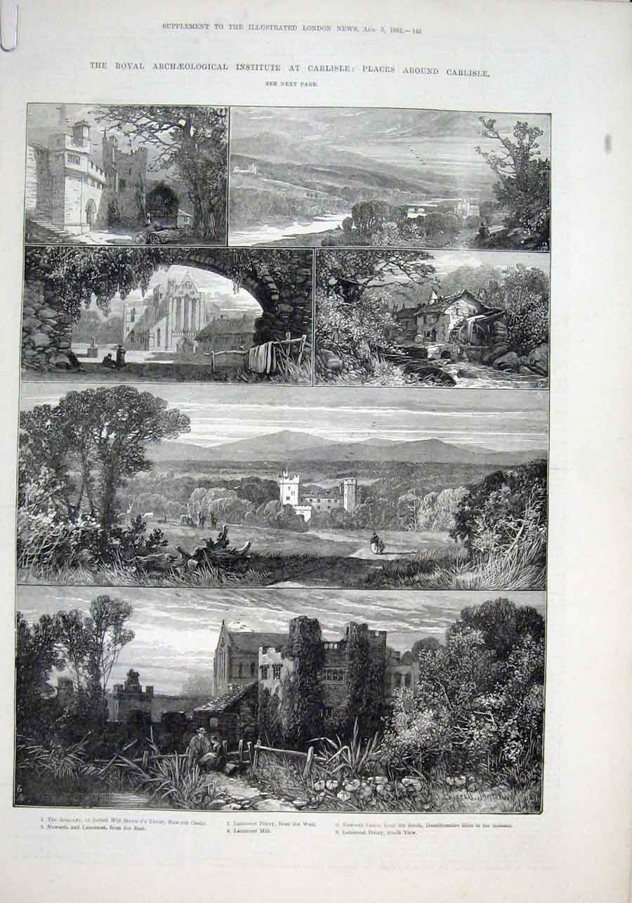 Print Sketches Around Carisle 1882 45Aaaa1 Old Original