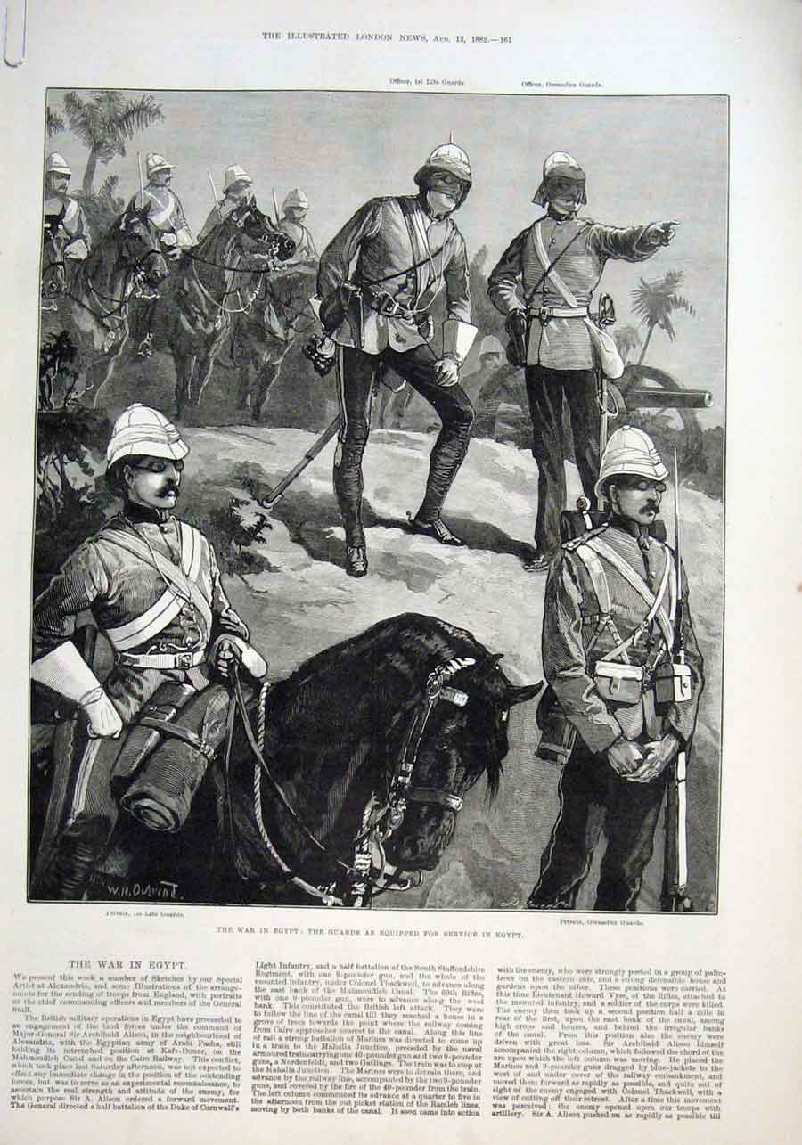 Print Guards Equppped For War In Egypt Gatling Gun On Train 61Aaaa1 Old Original