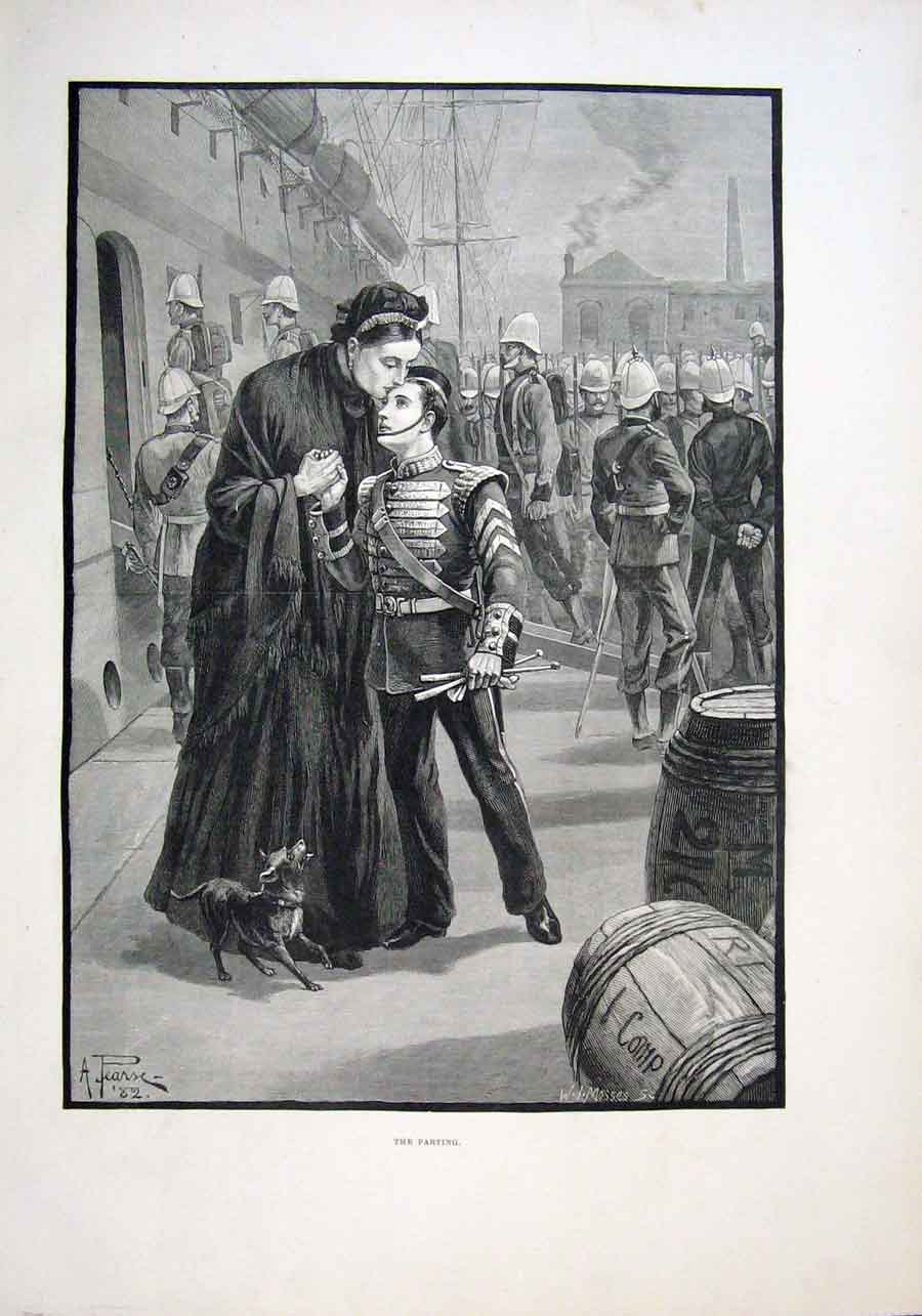 Print The Parting A Young Soldier 1882 18Aaa1 Old Original