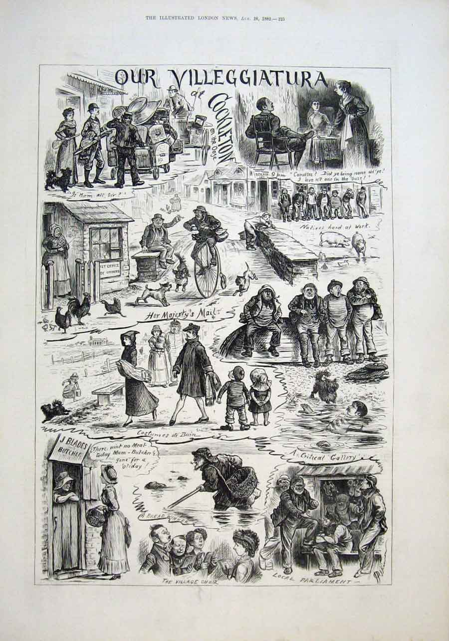 Print Our Villegggiatura 1882 Village Life 25Aaa1 Old Original
