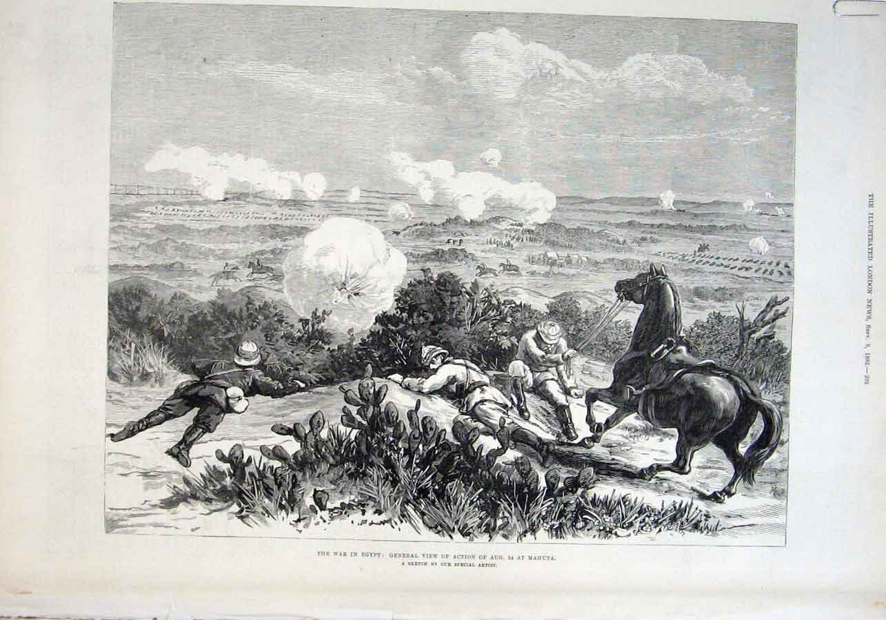 Print War Action Mahuta 1882 Egypt 92Aaaa1 Old Original