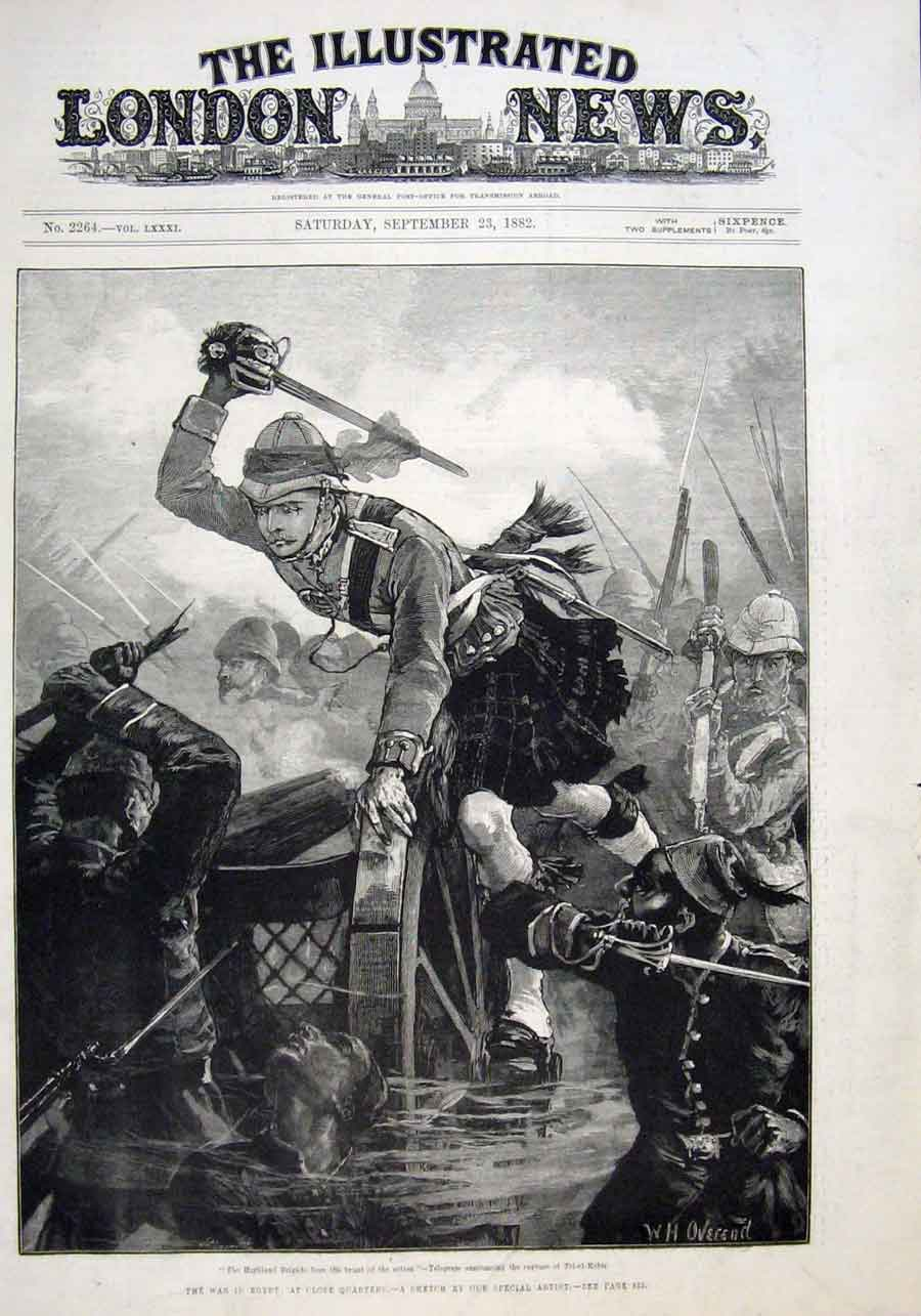 Print Close Quarter Action For Highland Brigade 1882 War 18Aaa1 Old Original